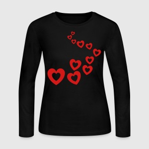 Light pink Valentines Hearts Design Long sleeve shirts - Women's Long Sleeve Jersey T-Shirt