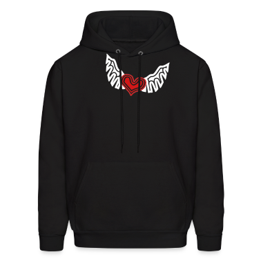 Black Heart On The Wing Tribal Style Hoodies