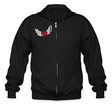 Black Heart On The Wing Tribal Style Zippered Jackets