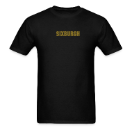 T-Shirts ~ Men's T-Shirt ~ SIXBURGH Black T-shirt with Gold Text