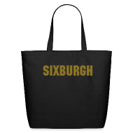 Bags & backpacks ~ Eco-Friendly Cotton Tote ~ SIXBURGH Large Tote Bag - Black with Gold Text