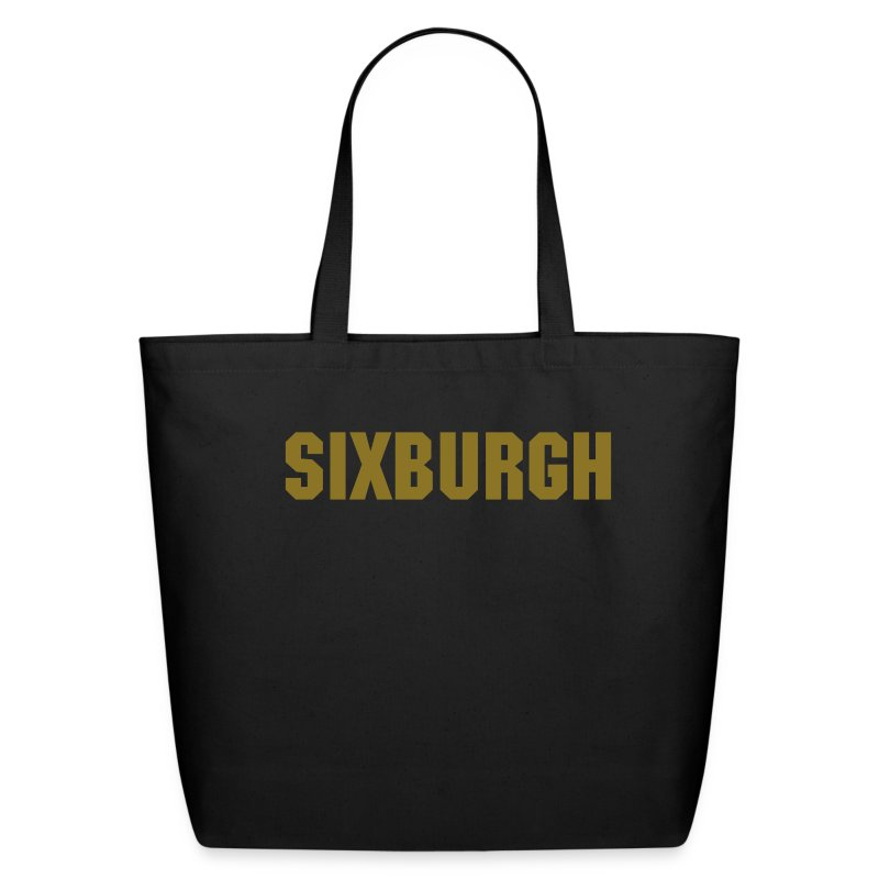 SIXBURGH Large Tote Bag - Black with Gold Text - Eco-Friendly Cotton Tote