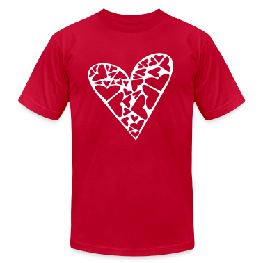 Red Hearts Cut Out In Heart Formation, Asymmetrical T-Shirts
