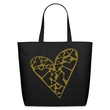 Black Hearts Cut Out In Heart Formation, Asymmetrical Bags