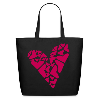 Black Hearts In Heart Formation, Asymmetrical Bags