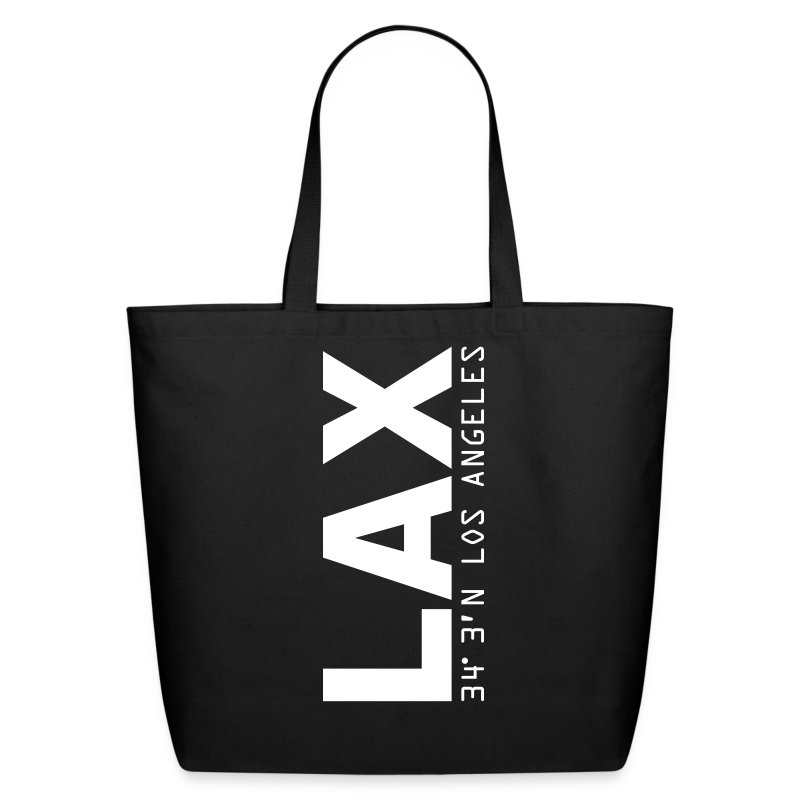 Los Angeles airport code LAX solid white letters tote bag - Eco-Friendly Cotton Tote