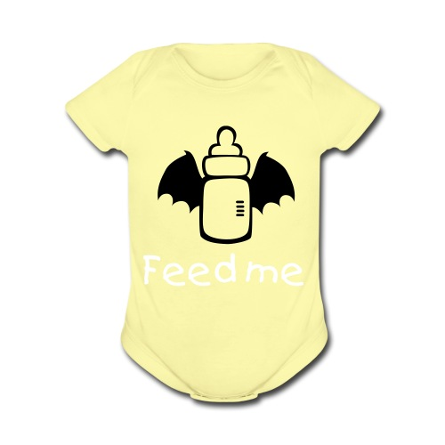 feed me - Organic Short Sleeve Baby Bodysuit