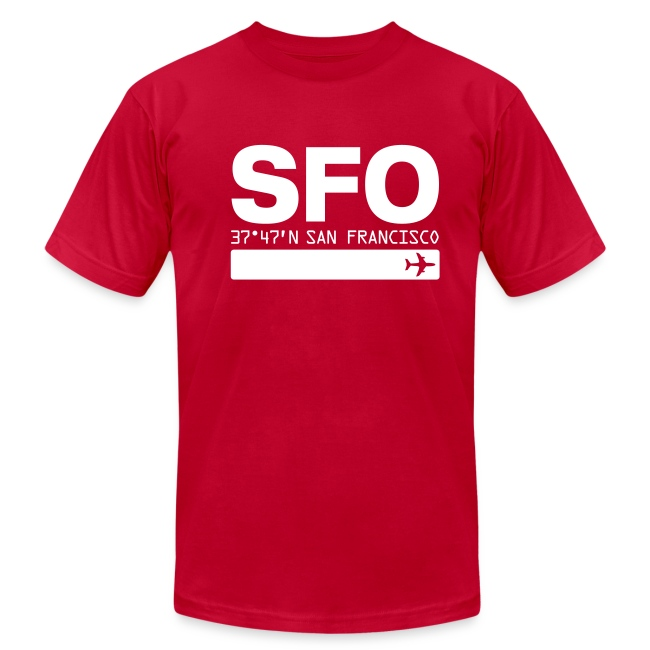 San Francisco Airport Code SFO Red Fitted T-shirt