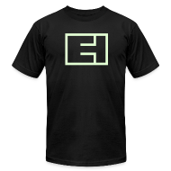 T-Shirts ~ Men's T-Shirt by American Apparel ~ Glow-in-the-Dark Block Logo on Black