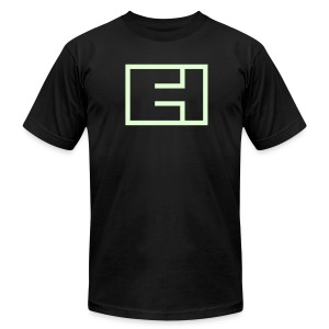 Glow-in-the-Dark Block Logo on Black - Men's T-Shirt by American Apparel