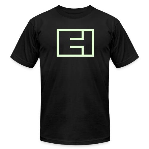 Glow-in-the-Dark Block Logo on Black - Men's Fine Jersey T-Shirt
