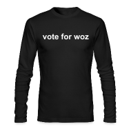 Long Sleeve Shirts ~ Men's Long Sleeve T-Shirt by Next Level ~ Mens 'vote for woz' Long Sleeve T-Shirt