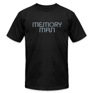 T-Shirts ~ Men's T-Shirt by American Apparel ~ Memory Man: Metallic Silver on Black
