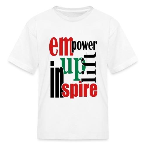 WUBT 'Empower, Uplift, Inspire' Kids' T-Shirt, White - Kids' T-Shirt