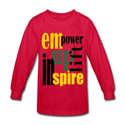 WUBT 'Empower, Uplift, Inspire' Kids' Long Sleeve T-Shirt, Red - Kids' Long Sleeve T-Shirt