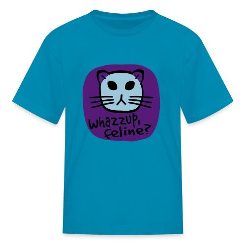 WUBT 'Whazzup, Feline?' Girl's Ringer T-Shirt, Pink - Kids' T-Shirt