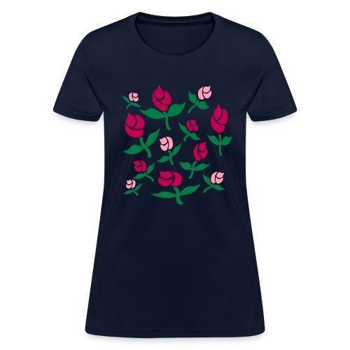 WUBT 'Rosebuds Floating' Women's Standard T-Shirt, Navy - Women's T-Shirt