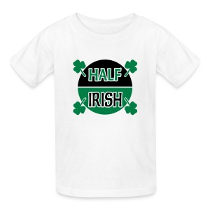 WUBT 'Half Irish With Shamrocks' Kids' T-Shirt, White - Kids' T-Shirt