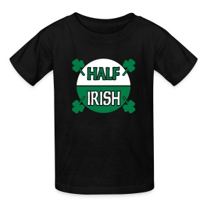 WUBT 'Half Irish With Shamrocks' Kids' T-Shirt, Black - Kids' T-Shirt