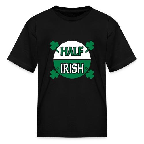 WUBT 'Half Irish With Shamrocks' Kids' T-Shirt, Black - Kids' T-Shirt