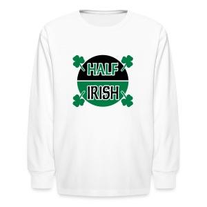 WUBT 'Half Irish With Shamrocks' Kids' Long Sleeve T-Shirt, White - Kids' Long Sleeve T-Shirt