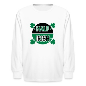 WUBT 'Half Irish With Shamrocks' Kids' Long Sleeve T-Shirt, White - Kids' Long Sleeve T-Shirt