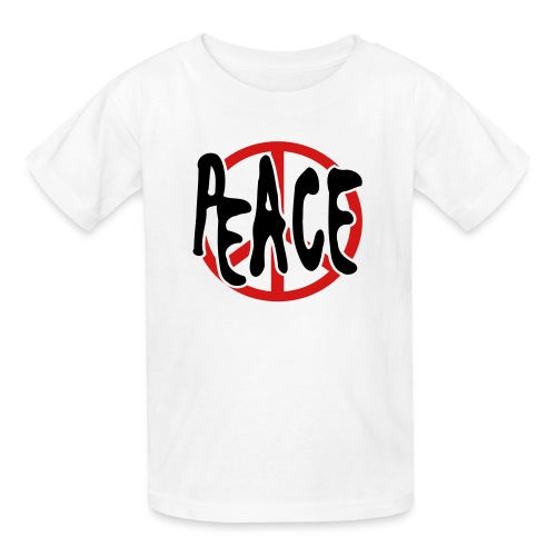 WUBT 'Peace With Peace Sign' Kids' T-Shirt, White - Kids' T-Shirt