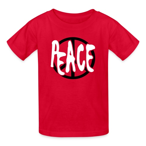 WUBT 'Peace Cutout With Peace Sign' Kids' T-Shirt, Red - Kids' T-Shirt