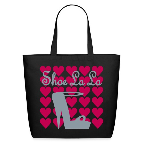 WUBT 'Shoe La La With Stilletto' Eco Tote, Black - Eco-Friendly Cotton Tote