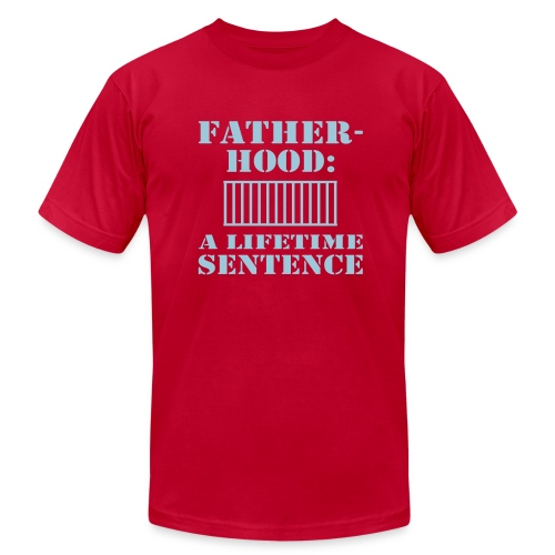 WUBT 'Fatherhood, Lifetime Sentence' Men's AA T-Shirt, Eggplant - Men's Fine Jersey T-Shirt