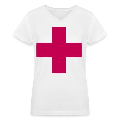 magenta cross - Women's V-Neck T-Shirt