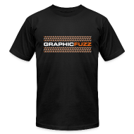 T-Shirts ~ Men's T-Shirt by American Apparel ~ Graphic Fuzz: White & Orange on Black