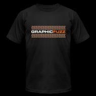T-Shirts ~ Men's T-Shirt by American Apparel ~ Graphic Fuzz: White & Orange on Black