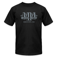 T-Shirts ~ Men's T-Shirt by American Apparel ~ Metallic Silver on Black, with Muff on Back