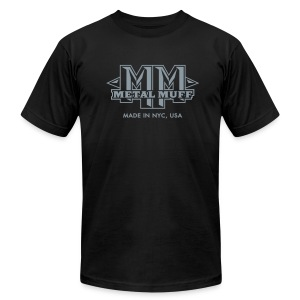 Metallic Silver on Black, with Muff on Back - Men's Fine Jersey T-Shirt