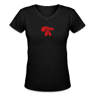 T-Shirts ~ Women's V-Neck T-Shirt ~ Red Sparkle Pi on Black