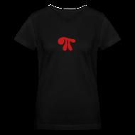 T-Shirts ~ Women's V-Neck T-Shirt ~ Red Sparkle Pi on Black