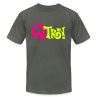 T-Shirts ~ Men's T-Shirt by American Apparel ~ Q-Tron: Neon Pink & Neon Yellow on Asphalt