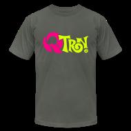 T-Shirts ~ Men's T-Shirt by American Apparel ~ Q-Tron: Neon Pink & Neon Yellow on Asphalt