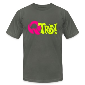 Q-Tron: Neon Pink & Neon Yellow on Asphalt - Men's T-Shirt by American Apparel