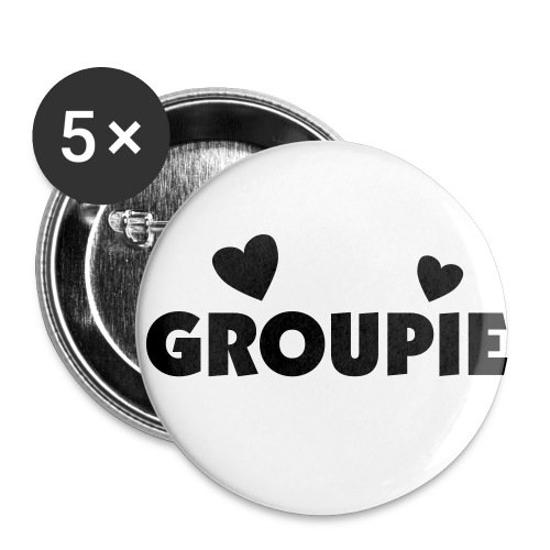 5 Pack Groupie Double Heart Button - Small Buttons