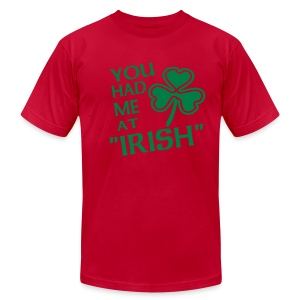 WUBT 'You Had Me At Irish' Men's AA Tee, Lime - Men's T-Shirt by American Apparel