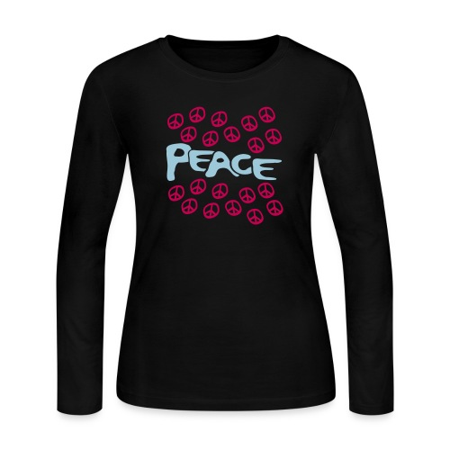 WUBT 'Peace Chopped With Peace Signs' Women's LS Jersey Tee, Pink - Women's Long Sleeve Jersey T-Shirt