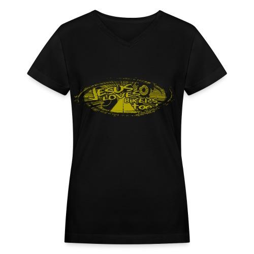 Jesus Loves Bikers Too - Women's V-Neck T-Shirt