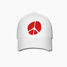 White Unusual Peace Symbol In Silhouette Caps