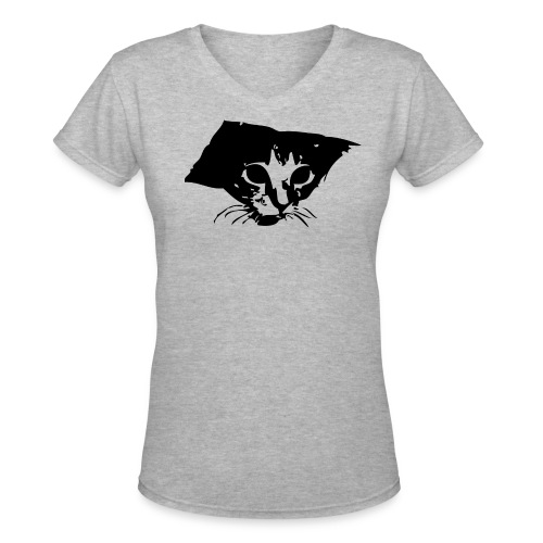 Women's V-Neck T-Shirt - Ceiling cat is watching you wear a stylish v-neck t-shirt.
