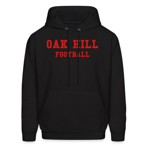 Black/Red OAK HILL FOOTBALL Mens Hooded Sweatshirt - Men's Hoodie