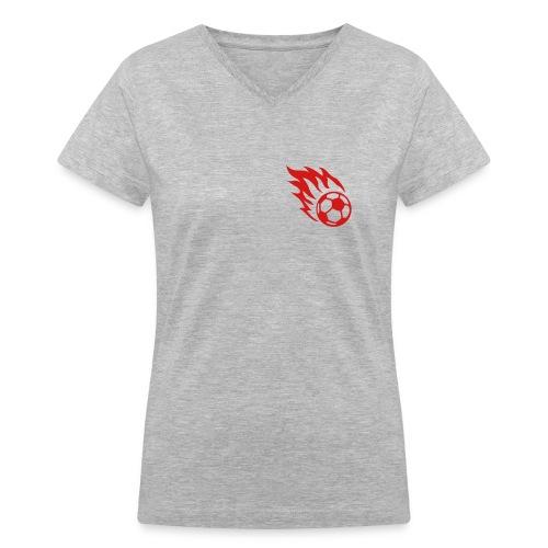 soccer football burning ball - Women's V-Neck T-Shirt