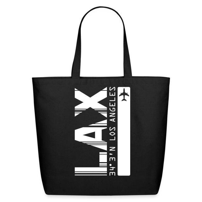 Los Angeles Airport Code LAX Barcode with White Bar Tote Bag
