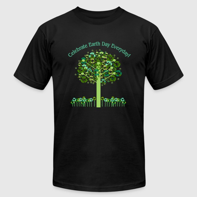 Black Celebrate Earth Day Everyday T-Shirts - Men's T-Shirt by American Apparel